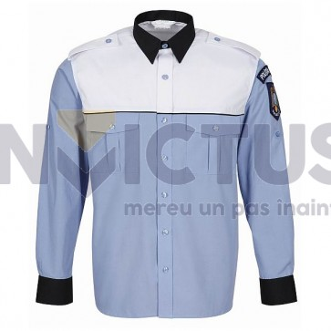 Cămașă bluză gri-bleu mânecă lungă platcă albă bărbați - IGPR - 104017