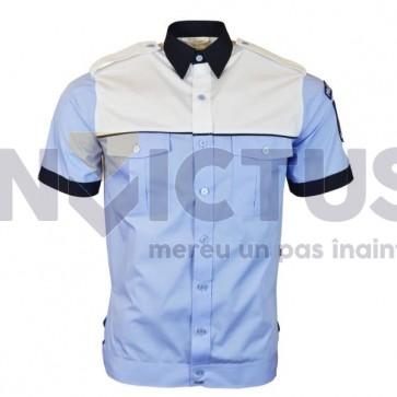 Camasa bluza cu maneca scurta cu banda la terminatie barbati platca-alba - 104074