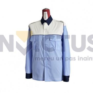 Cămașă bluză gri-bleu mânecă lungă platcă albă femei IGPR - 104018