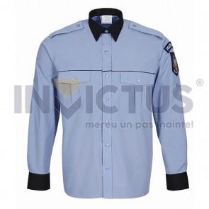 Cămașă bluză gri-bleu cu mânecă lungă bărbați-Poliție - 104008