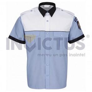 Cămașă bluză gri-bleu mânecă scurtă platcă albă bărbați - IGPR - 104010