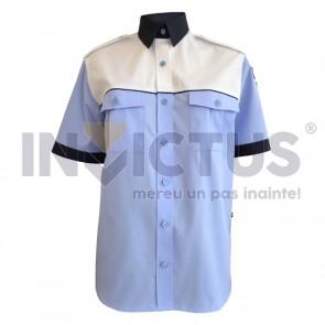 Cămașă bluză gri-bleu mânecă scurtă platcă albă femei - IGPR - 104028