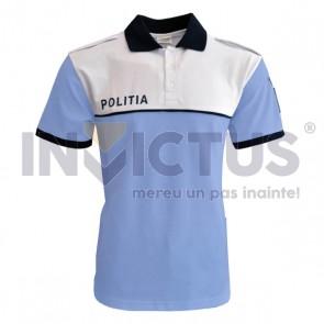 Tricou polo IGPR bleu cu platcă albă - 104110