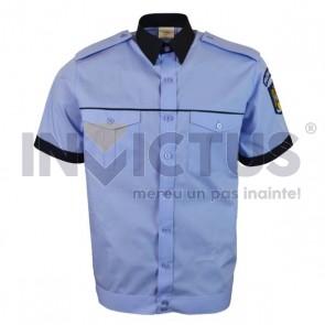 Camasa bluza cu maneca scurta cu banda la terminatie barbati gri-bleu - 104073