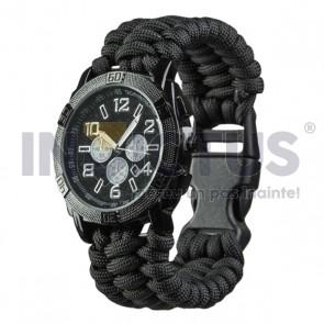 Ceas cu brațară paracord - negru - 234904